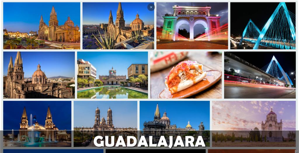 Imagen que muestra puntos de interés de la ciudad de Guadalajara